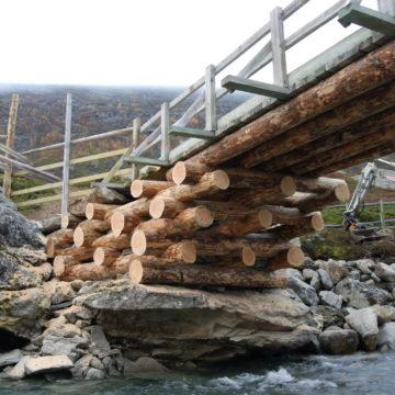 Detaljer fra utleggsbru med tømmer fra malmrik furu